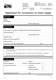 Application for connection to water supply - Waikato District Council
