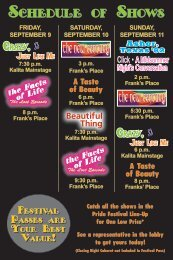 FRIDAY, SEPTEMBER 9 SATURDAY ... - Uptown Players