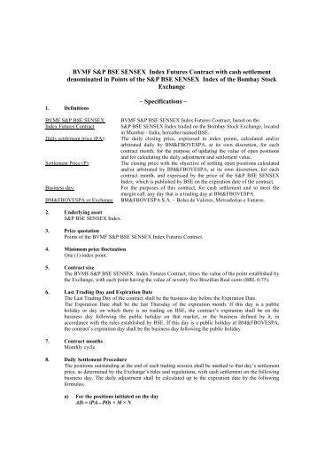 BVMF S&P BSE SENSEX Index Futures Contract ... - BM&FBovespa
