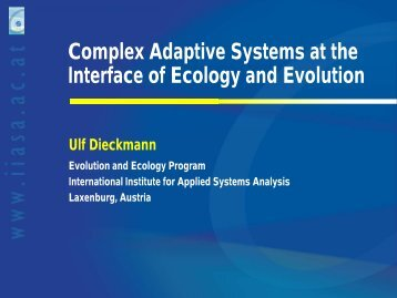 Complex Adaptive Systems at the Interface of ... - Conferences