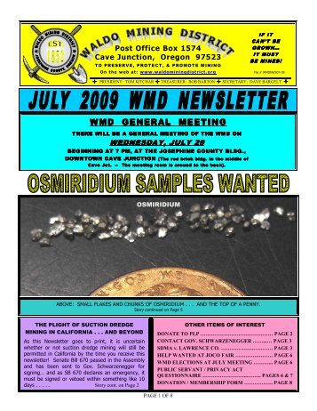 WMF 2009 July September newsletter - Public Lands for the People