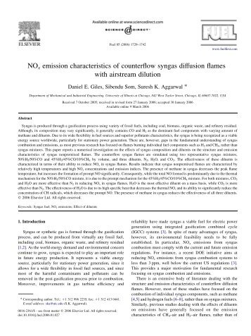 NOx emission characteristics of counterflow syngas diffusion flames ...