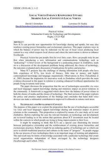 Governance - The Electronic Journal of Information Systems in ...