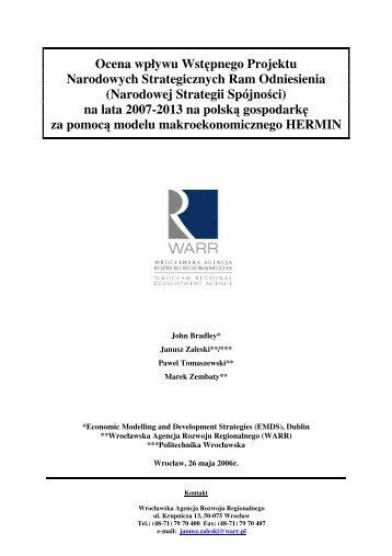 Narodowej Strategii Spójności - Fundusze Strukturalne