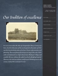 Our tradition of excellence - Henry County Health Center