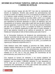 INFORME DE ACTIVIDAD TURISTICA, EMPLEO ... - CCOO
