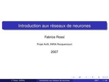 Introduction aux réseaux de neurones - Fabrice Rossi