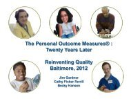 The Personal Outcome Measures - 2012 Reinventing Quality ...