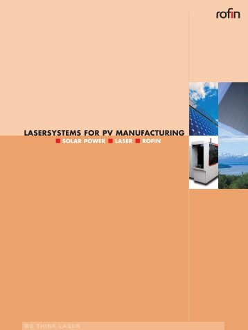 LASERSYSTEMS FOR PV MANUFACTURING - Rofin