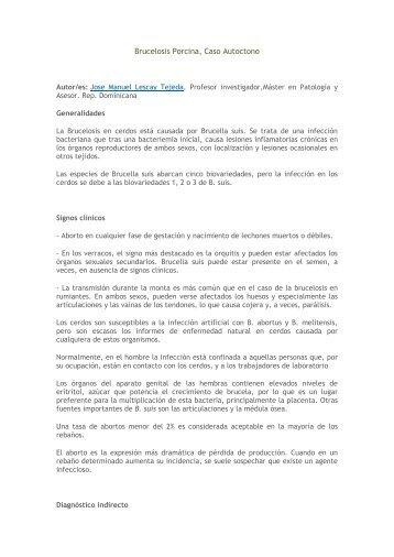 Brucelosis Porcina, Caso Autoctono - Centro de Información de ...