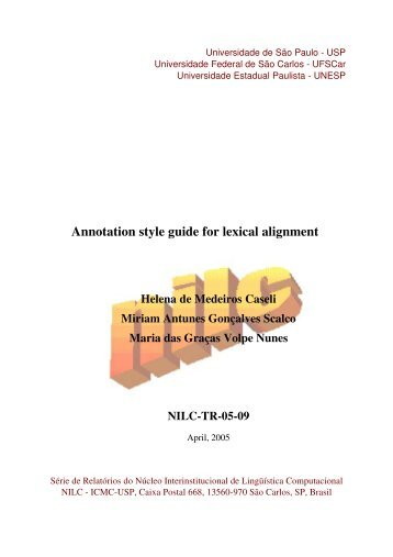 Annotation style guide for lexical alignment - Universidade Federal ...