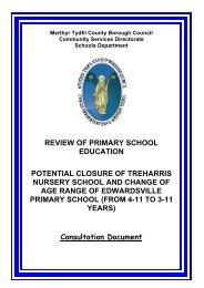review of primary school education potential closure of treharris ...