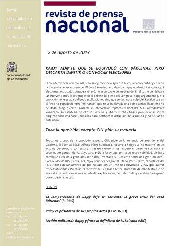 2 de agosto de 2013 - La Moncloa