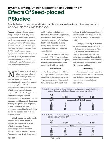 Effects of Seed-Placed P Studied - Fluid Fertilizer Foundation