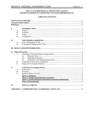 region 8 - regional contingency plan - U.S. National Response Team ...