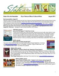 State of the Arts Newsletter City of Ventura Office of Cultural Affairs ...