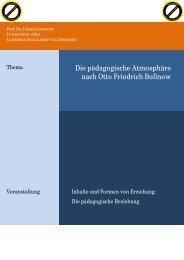 Die pädagogische Atmosphäre nach Otto Friedrich Bollnow