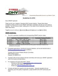 Guidelines for 2012 - Yamaha Motorsports Home