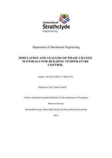 Simulation and Analysis of Phase Change Materials for Building ...