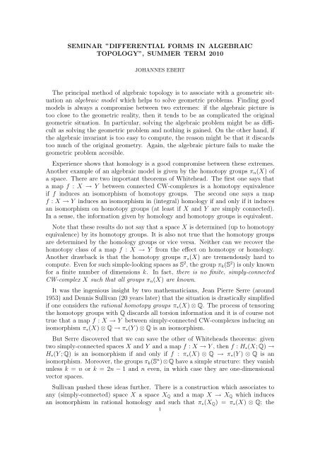 """SEMINAR """"DIFFERENTIAL FORMS IN ALGEBRAIC TOPOLOGY ..."""