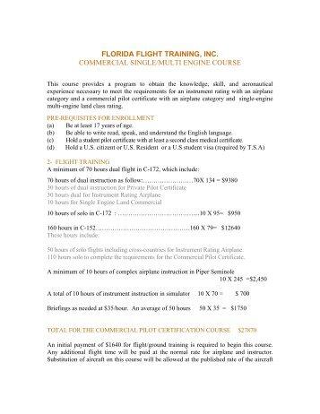 florida flight training, inc. commercial single/multi engine course