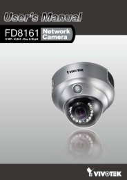 Vivotek FD8161 User Manual - CCTV Cameras