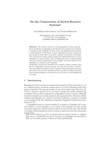 On the Construction of Sorted Reactive Systems*