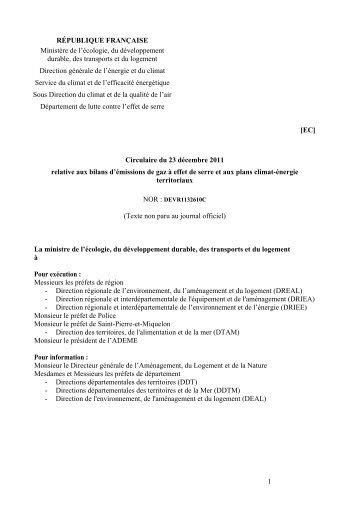 Circulaire du 23 décembre 2011 relative aux bilans d'émissions de ...