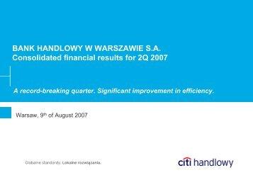 2Q 2007 results - Citibank Handlowy