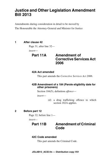 Justice and Other Legislation Amendment Bill 2013 - Queensland ...