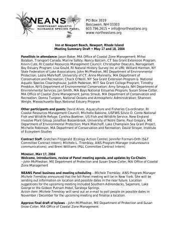 Spring 2004 - Northeast Aquatic Nuisance Species Panel