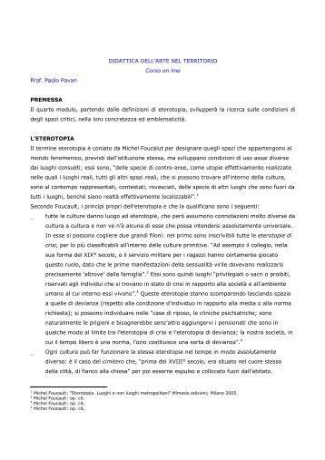 DIDATTICA DELL'ARTE NEL TERRITORIO Corso on line Prof ...