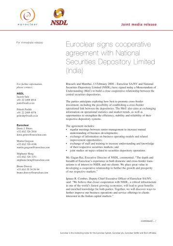 Euroclear signs cooperative agreement with National ... - NSDL
