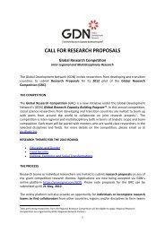 CALL FOR RESEARCH PROPOSALS - Global Development Network
