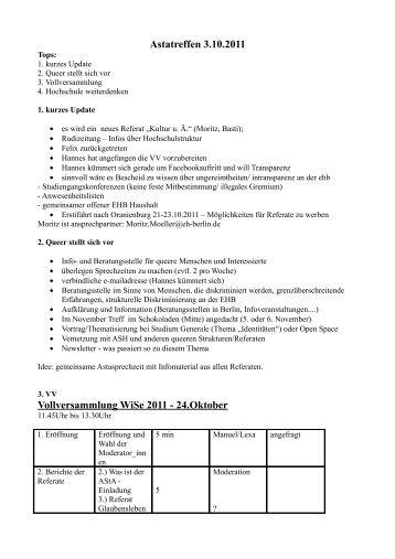 Astatreffen 3.10.2011 Vollversammlung WiSe 2011 ... - KeinDrama