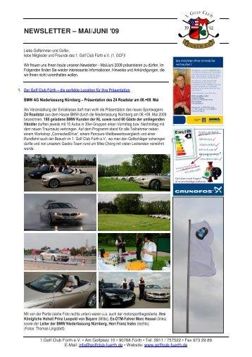 NEWSLETTER – MAI/JUNI ′09 - Golfclub Fürth
