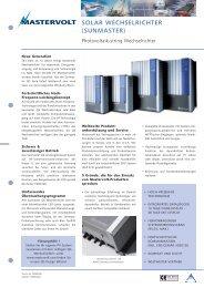 SOLAR WECHSELRICHTER (SUNMASTER) - Better Energy AG