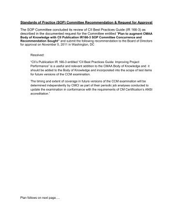 (SOP) Committee Recommendation & Request for Approval ... - CMAA