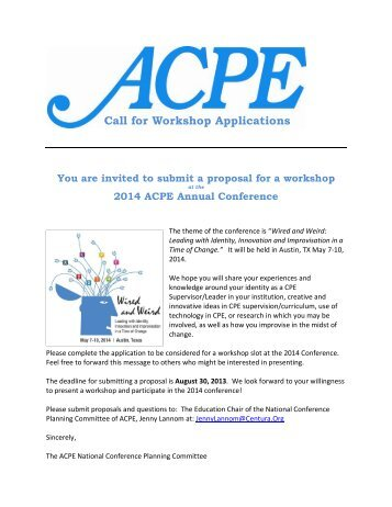 Call for Workshop Applications - ACPE