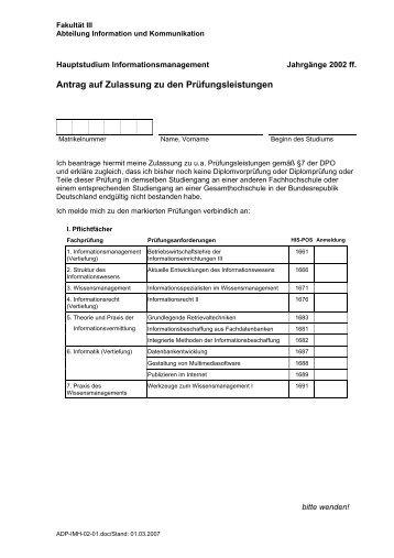 IM Hauptstudium Jahrgänge 2002 ff - Fakultät III