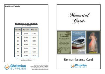 Memorial Cards - Remembrance Card Order Form - Christian Supplies
