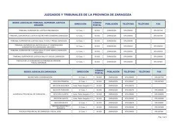 JUZGADOS Y TRIBUNALES DE LA PROVINCIA ... - Cortes de Aragón