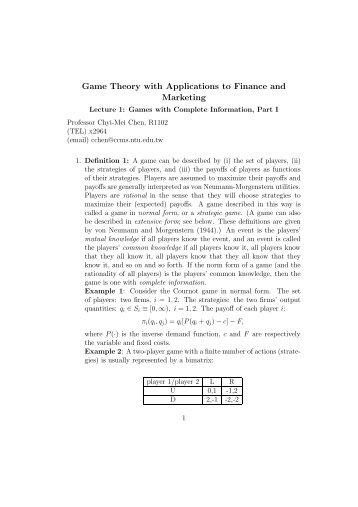 Game Theory with Applications to Finance and Marketing