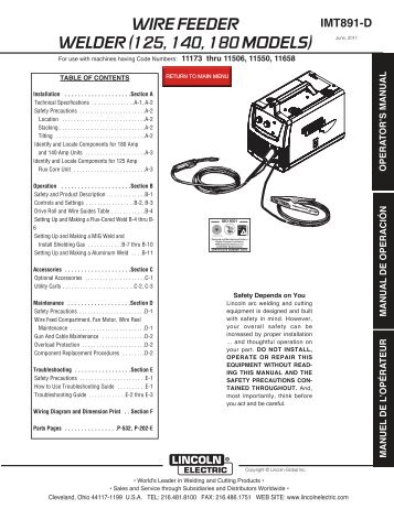 125, 140, 180 models - Rapid Welding and Industrial Supplies Ltd