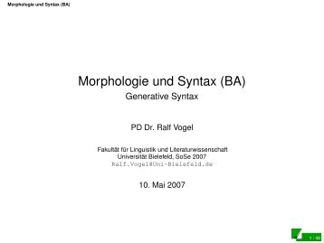 Generative Syntax - Universität Bielefeld