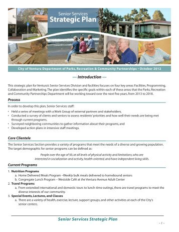 Senior Services Strategic Plan - City Of Ventura