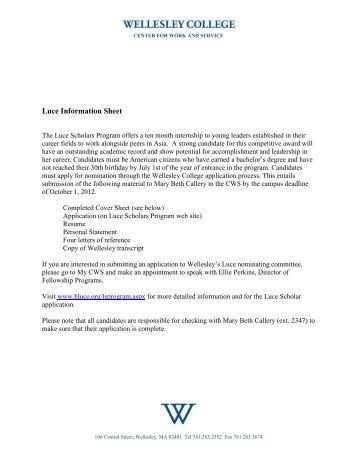 Luce Scholars Program - Wellesley College