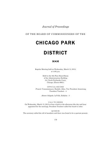 Journal of Proceedings 20130313 - March 13, 2013 - Chicago Park ...