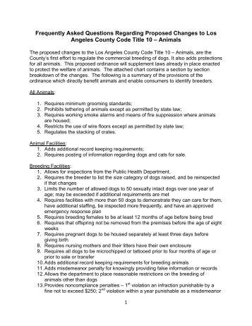 FAQ document - The Animal Council