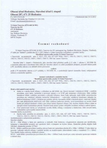 Obecní úřad Hodonice, Stavební úřad l. stupně - Obec Hodonice